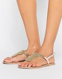 Телесные кожаные сандалии с декоративной отделкой Pieces Carmen - Золотой
