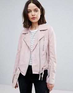 Замшевая байкерская куртка Urbancode - Розовый