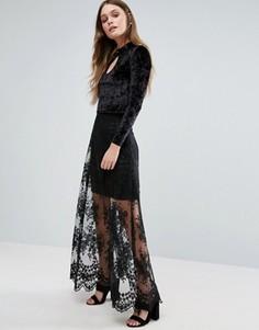 Кружевная юбка макси Amy Lynn - Черный
