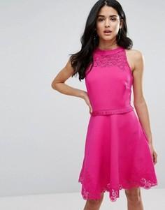 Короткое приталенное платье Ted Baker Zaffron - Розовый