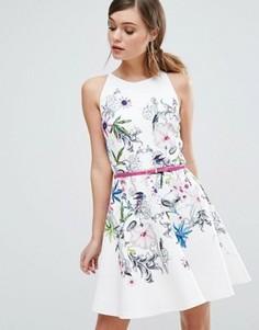 Короткое приталенное платье Ted Baker Samm - Белый