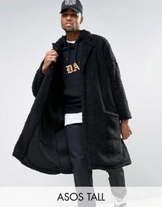 Черное оversize-пальто из искусственного меха ASOS TALL - Черный