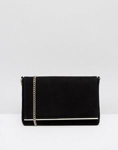 Черный замшевый клатч-конверт Dune Bouncy - Черный