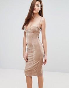 Бархатное платье миди на тонких бретельках Rare - Коричневый
