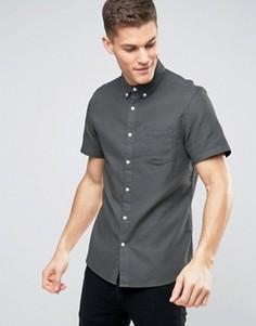 Приталенная рубашка с короткими рукавами и вафельной текстурой Burton Menswear - Зеленый