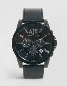 Часы с хронографом и ремешком из черной кожи Armani Exchange AX2098 - Черный