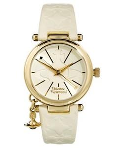 Часы с кожаным ремешком и подвеской-орбитой Vivienne Westwood - Белый