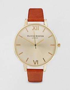 Светло-коричневые часы с большим циферблатом Olivia Burton - Коричневый