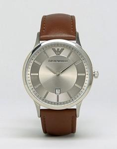 Часы со светло-коричневым кожаным ремешком Emporio Armani AR2463 - Коричневый