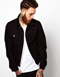 Черная эластичная джинсовая куртка слим Lee Rider - Черный