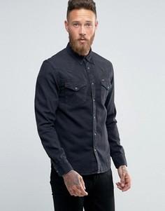 Черная джинсовая рубашка в стиле вестерн узкого кроя Lee - Черный