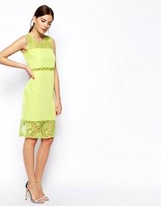 Платье миди с кружевными вставками ASOS - Зеленый