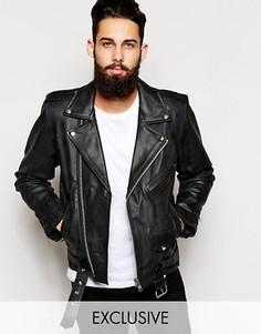 Черная кожаная байкерская куртка Reclaimed Vintage Inspired - Черный