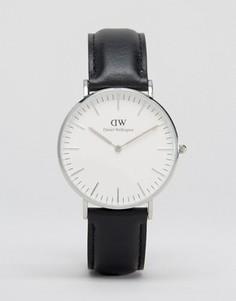 Черные классические большие часы с серебристой отделкой Daniel Wellington Sheffield - Черный