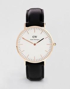 Черные классические большие часы с отделкой из розового золота Daniel Wellington Sheffield - Черный