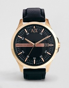 Часы с черным кожаным ремешком Armani Exchange AX2129 - Коричневый