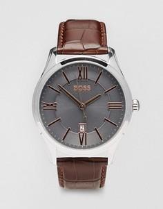 Часы с коричневым кожаным ремешком BOSS By Hugo Boss Ambassador 1513041 - Коричневый