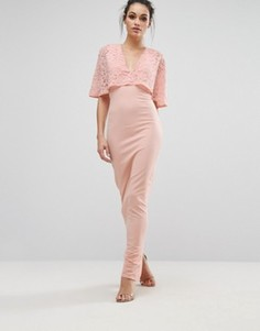 Платье макси с рукавами-кимоно и кружевной отделкой Club L - Розовый