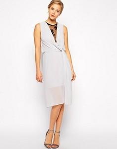 Драпированное платье миди с кружевной вставкой ASOS - Серый