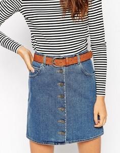 Коричневый ремень под джинсы в винтажном стиле ASOS - Рыжий