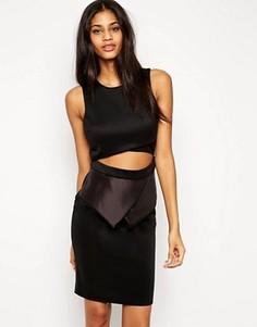 Платье миди с баской и вырезом ASOS - Черный