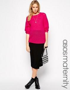 Трикотажная юбка-карандаш миди для беременных ASOS Maternity - Черный