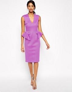 Платье миди с баской ASOS - Фиолетовый