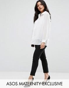 Офисные брюки до щиколотки для беременных ASOS Maternity - Черный