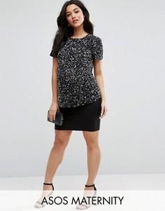Трикотажная мини-юбка для беременных ASOS Maternity - Черный