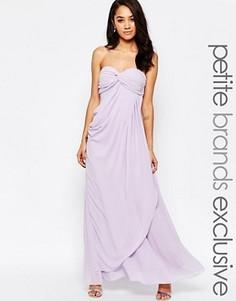 Платье макси в стиле бандо с рюшами Jarlo Petite Claudia - Фиолетовый
