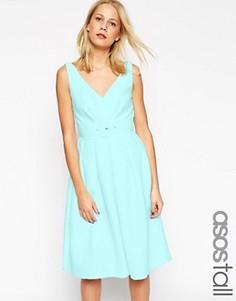Платье для выпускного в стиле 50-х с поясом ASOS TALL - Синий