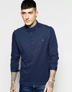 Темно-синяя футболка-поло узкого кроя с длинными рукавами Farah Merriweather - Темно-синий