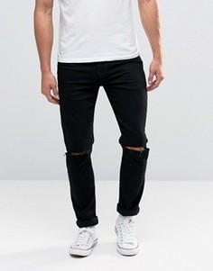 Черные облегающие джинсы с рваными коленками ASOS - Черный