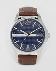 Часы с коричневым кожаным ремешком Armani Exchange AX2133 - Коричневый