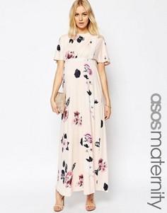 Платье макси для беременных с рукавами-кимоно, кружевными вставками и цветочным принтом ASOS Maternity - Мульти