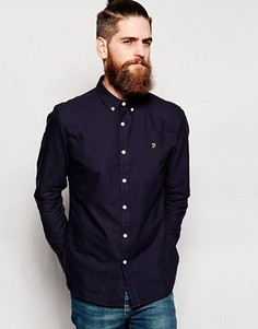 Темно-синяя оксфордская рубашка слим Farah Brewer - Синий