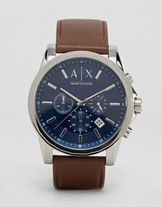 Часы с кожаным ремешком Armani Exchange AX2501 - Коричневый