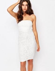 Кружевное платье миди с лифом-бандо и цветочным принтом Missguided - Белый