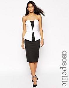Монохромное платье миди с баской ASOS PETITE Premium - Мульти