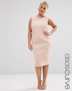 Платье-футляр миди с цветочной вышивкой ASOS CURVE SALON - Розовый