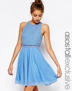 Короткое приталенное платье с отделкой в виде решетки ASOS TALL - Синий