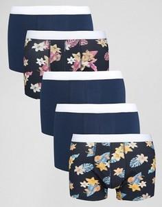 5 боксеров-брифов с цветочным принтом ASOS - СКИДКА 20 - Синий