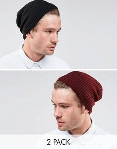 2 шапки-бини (черная/бордовая) ASOS - СКИДКА - Мульти