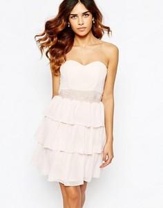 Платье-бандо с кружевной отделкой Elise Ryan - Розовый