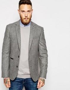 Приталенный твидовый пиджак ASOS - Серый