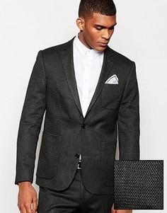 Приталенный пиджак с геометрическим рисунком ASOS - Серый