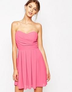 Шифоновое платье для выпускного с мягкими складками TFNC - Розовый