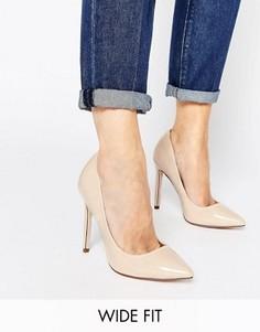 Туфли для широкой стопы на каблуке с острым носком ASOS PLAYFUL - Бежевый