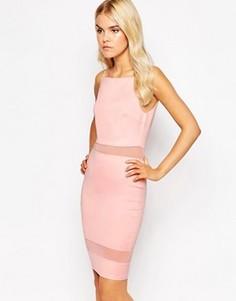 Платье миди со вставкой из сеточки AX Paris - Розовый