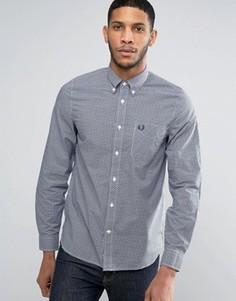 Рубашка в клеточку зауженного кроя с длинными рукавами Fred Perry - Синий